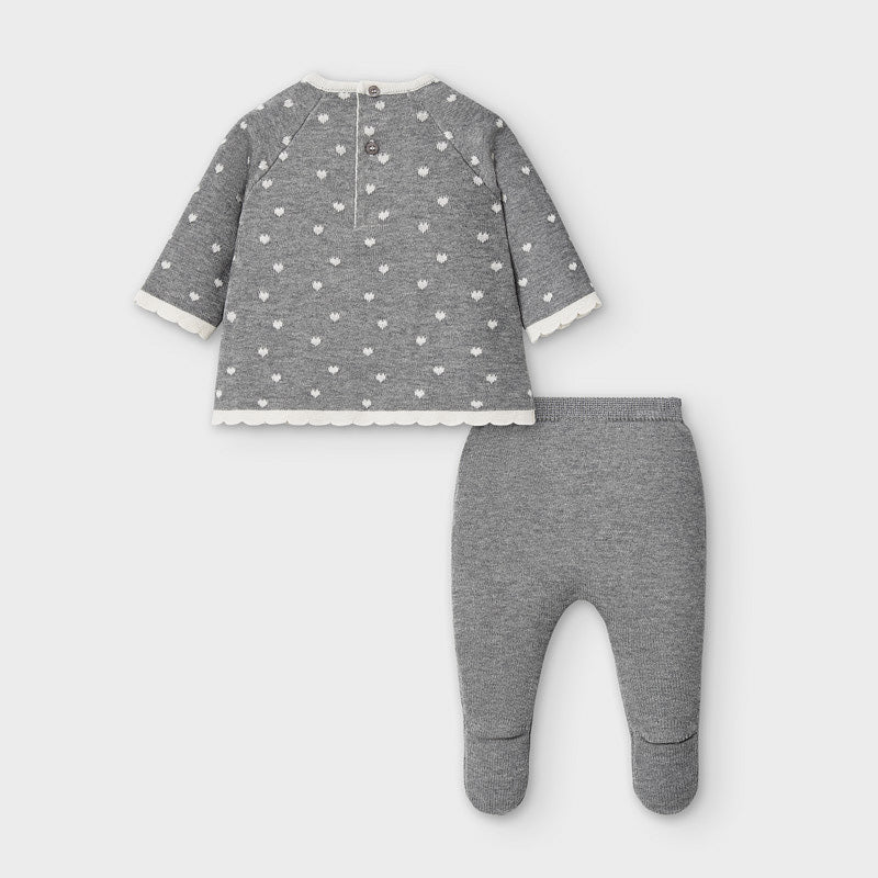 Mayoral Grey Hearts Knit Two Piece Set