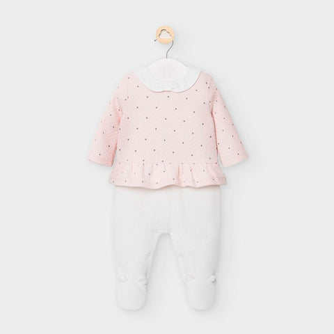 Mayoral Pink & Cream Velour Babygrow