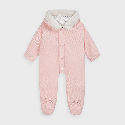 Mayoral Pink Knitted Snowsuit
