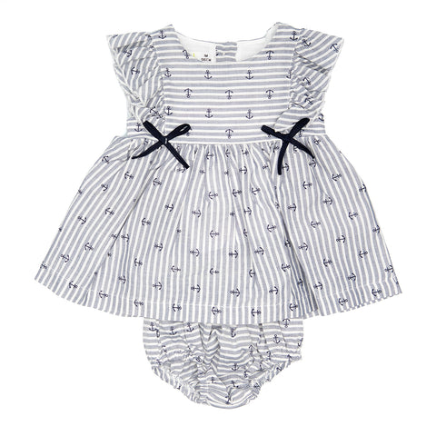 Babybol Anchors Design Striped Dress
