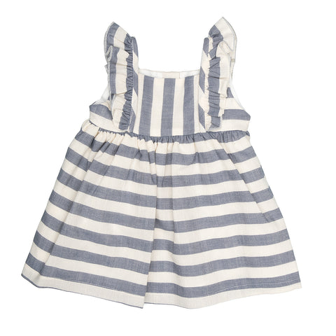 Babybol Blue & Off White Striped Dress