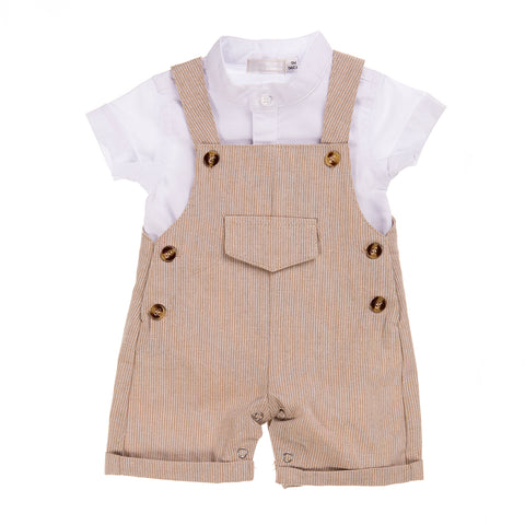 Babybol Beige & White Two Piece Set