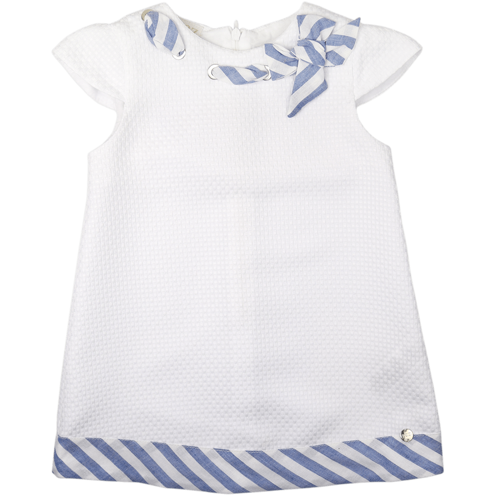 Paz Rodriguez White & Blue Dress