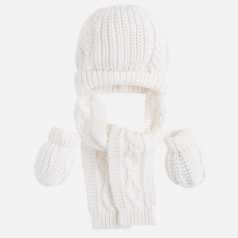 Mayoral Cream Knitted Hat, Scarf & Mittens Set