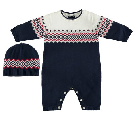 Emile et Rose Navy & Cream Knitted Playsuit with Hat