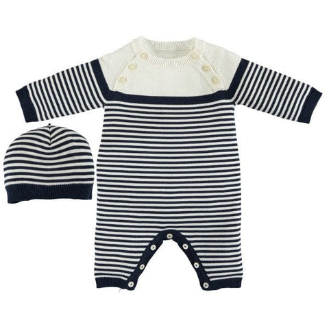 Emile et Rose Navy & Ivory Knitted 'Jake' Playsuit with Hat