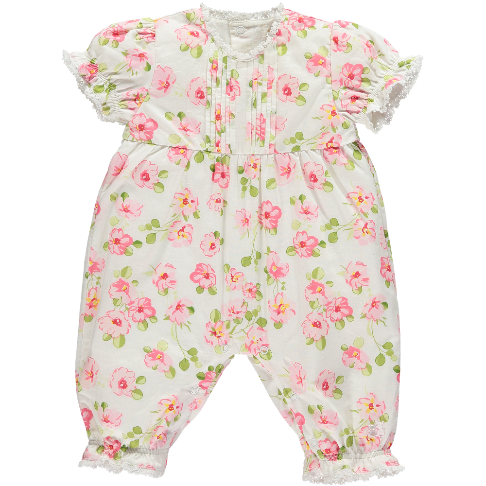 Emile et Rose Floral White Jumpsuit