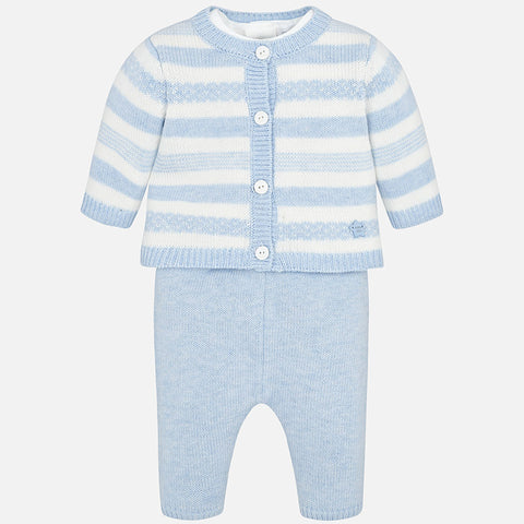Mayoral Blue Knit Three Piece Set