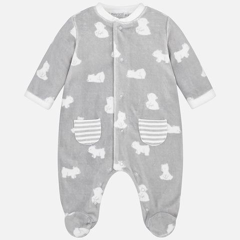 Mayoral Bear Design Velour Babygrow