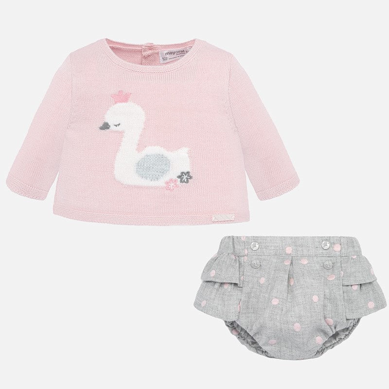 Mayoral Pink Knit & Grey Two Piece Set