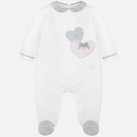 Mayoral Hearts Off White Velour Babygrow