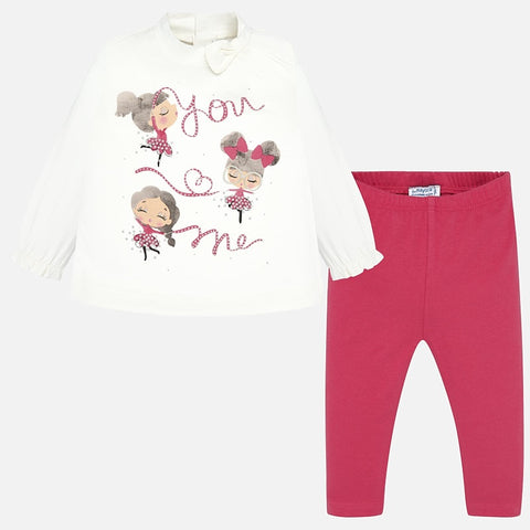 Mayoral Fuchsia & Ecru Two Piece Set