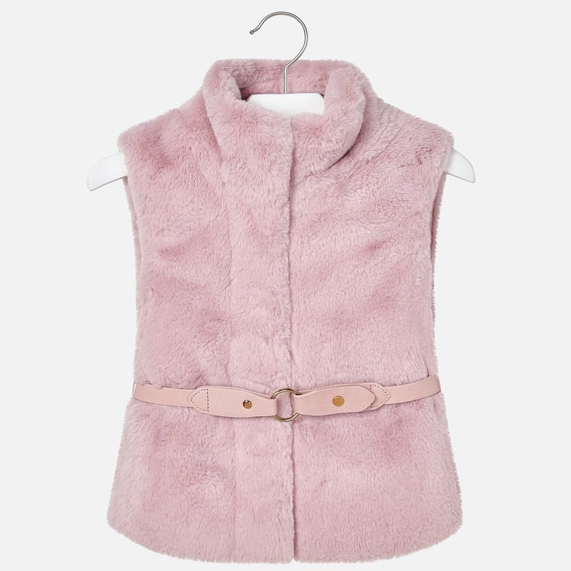 Mayoral Pink Faux Fur Gilet