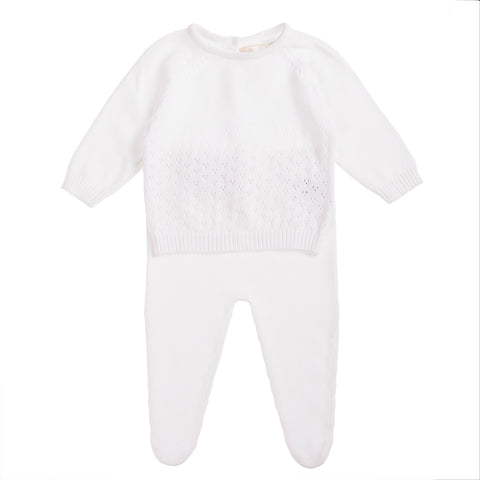 Babybol White Knitted Two Piece Set