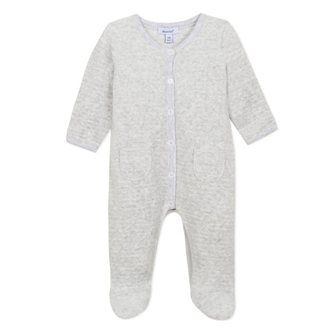 Absorba Grey Velour Babygrow