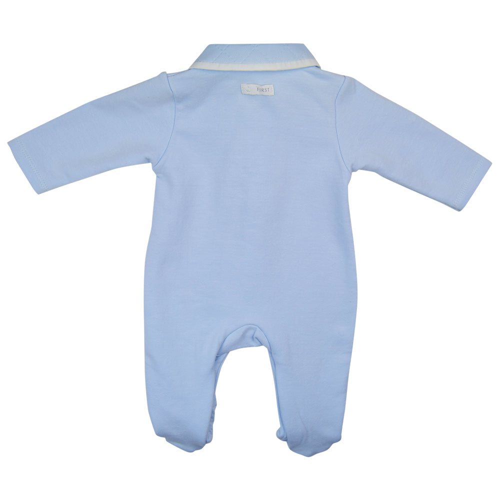 First Tie Design Blue Babygrow