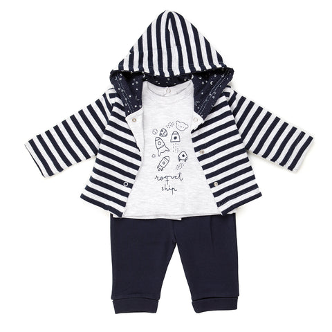 Babybol Navy & Grey Three Piece Set