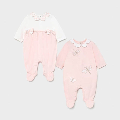 Mayoral Pink Twin Pack Babygrow Set