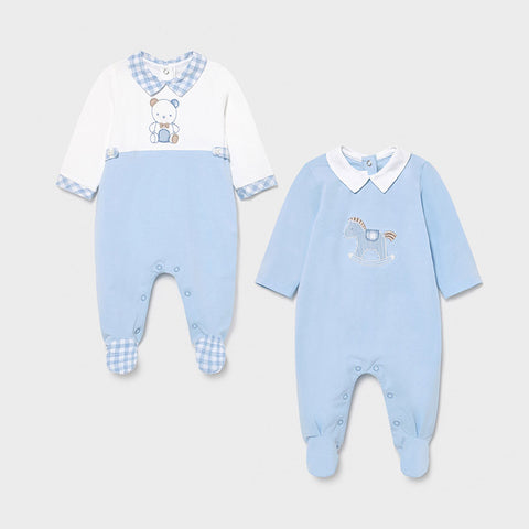 Mayoral Blue Twin Pack Babygrow Set