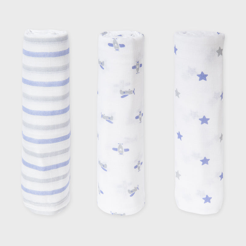 Mayoral Blue Trio Pack of Muslin Cloths