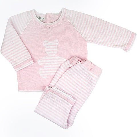 Kissy Kissy Pink & White Knitted Two Piece Set