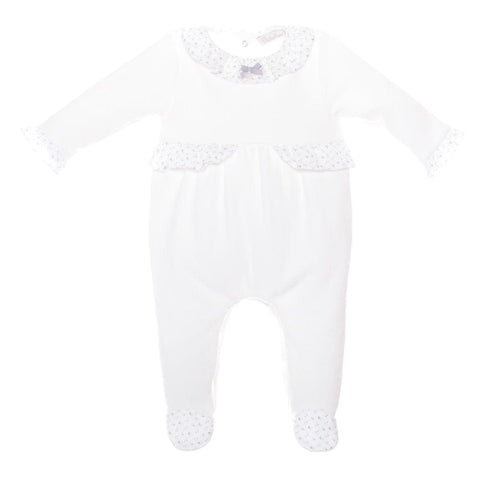 Patachou Floral Design Cream Velour Babygrow