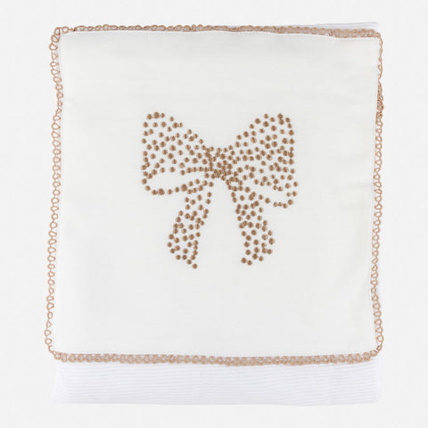 Mayoral White & Beige Bow Design Blanket