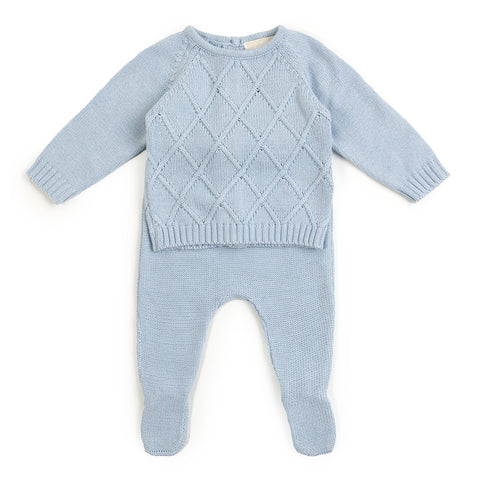 Babybol Blue Knitted Two Piece Set