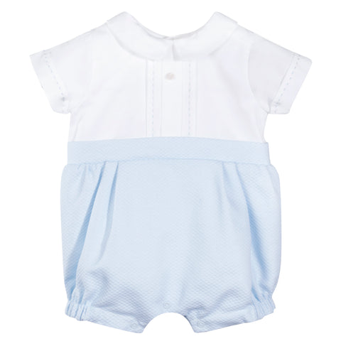 Patachou Blue & White Textured Romper