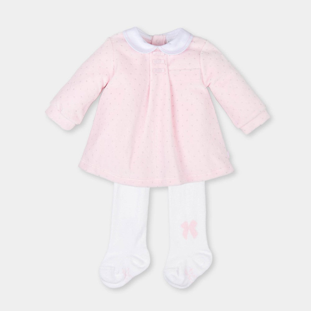 Tutto Piccolo Silver Spots Pink Velour Dress with Tights
