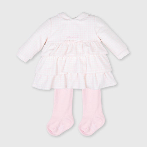 Tutto Piccolo Pink & White Velour Dress with Tights