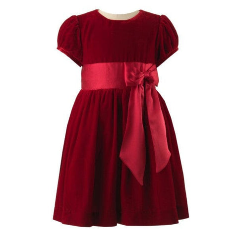 Rachel Riley Red Silk Velvet Dress with Bow