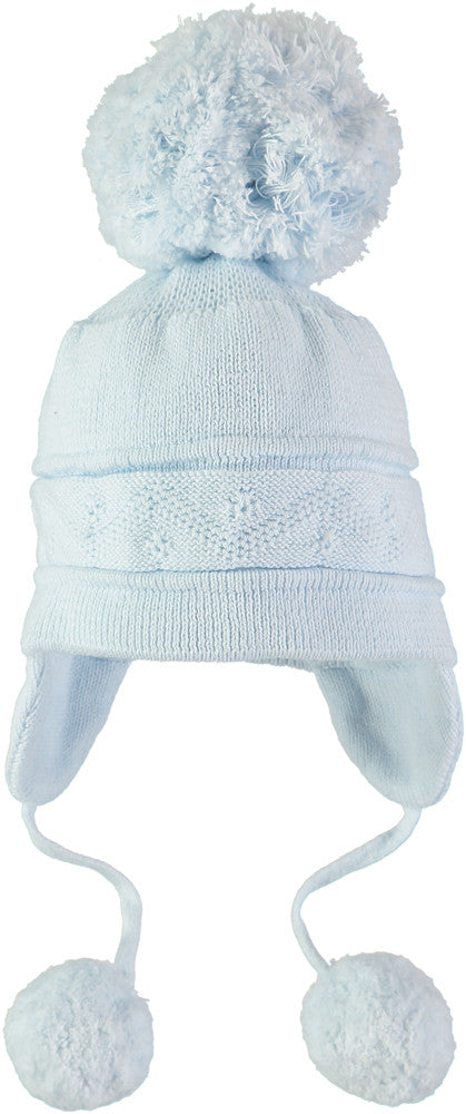 Emile et Rose Blue Knitted Pom-Pom Hat