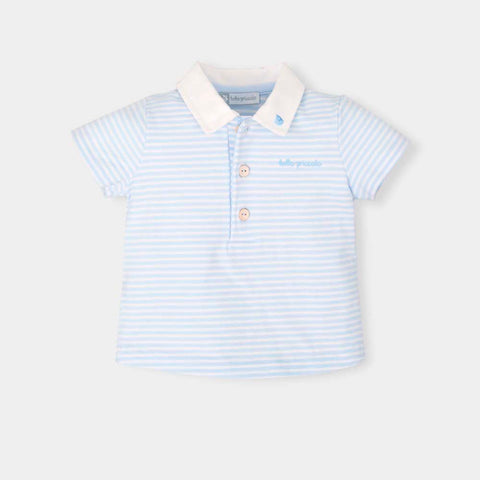 Tutto Piccolo Blue & White Striped Polo Shirt