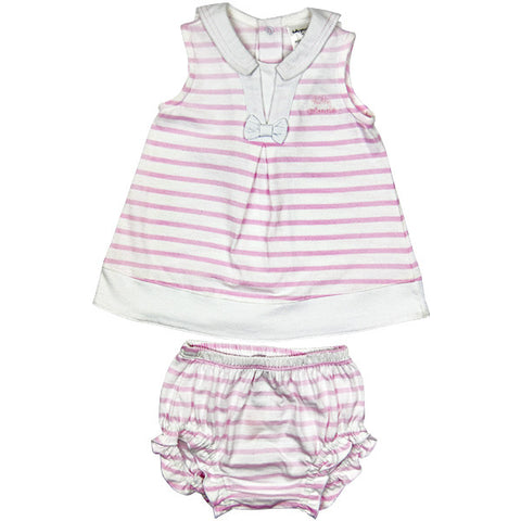 Tutto Piccolo Pink & White Striped Dress with Knickers