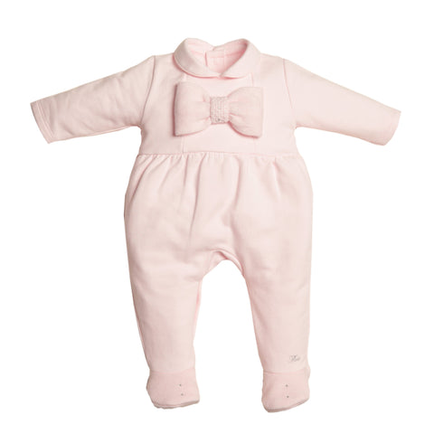 First Knit Bow Design Pink Babygrow