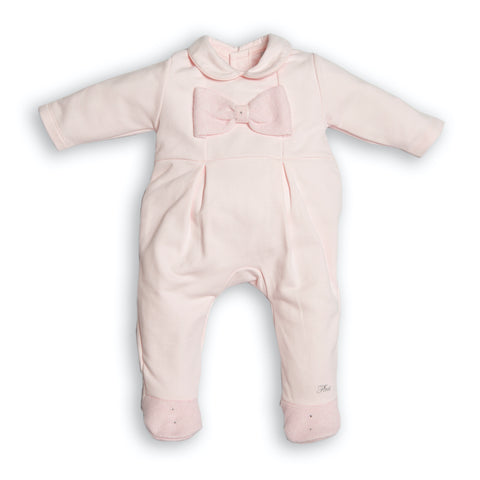 First Pink Knit Bow Babygrow