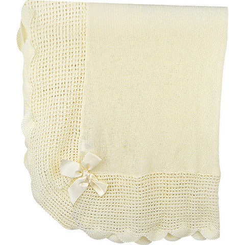 Paz Rodriguez Cream Knitted Blanket