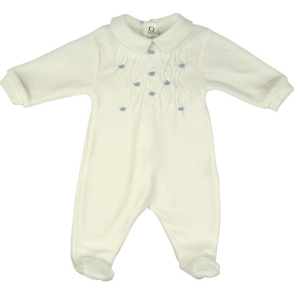 Bimbalo Cream & Blue Velour Babygrow