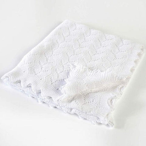 G.H. Hurt & Son Lacy White Baby Shawl