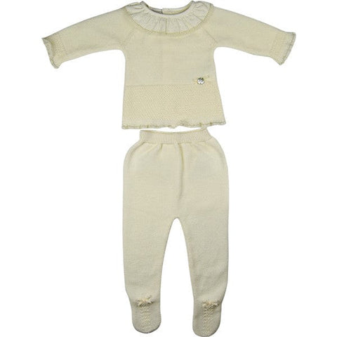Paz Rodriguez Cream Knitted Two Piece Set