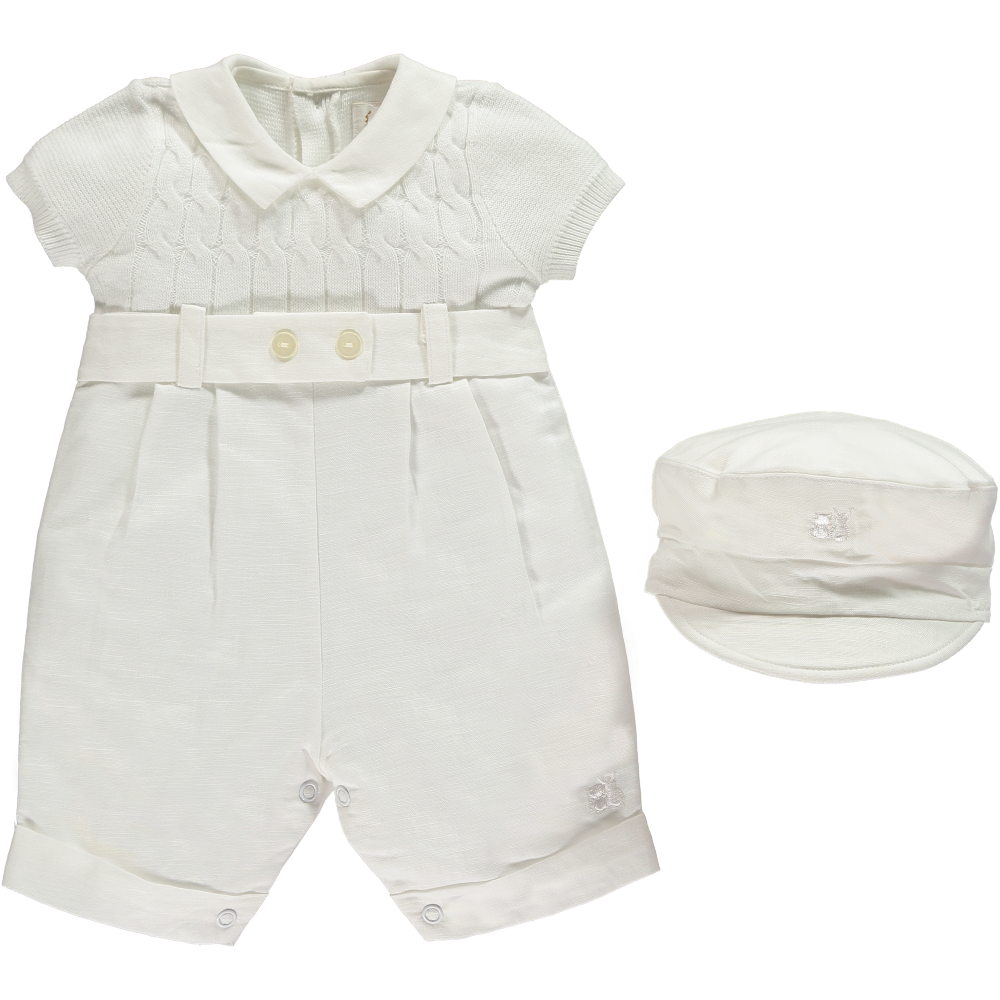 Emile et Rose 'Gerald' White Romper with Hat
