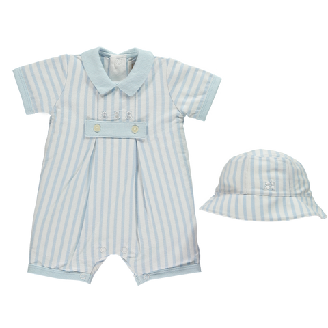 Emile et Rose Blue & White Striped Romper with Hat