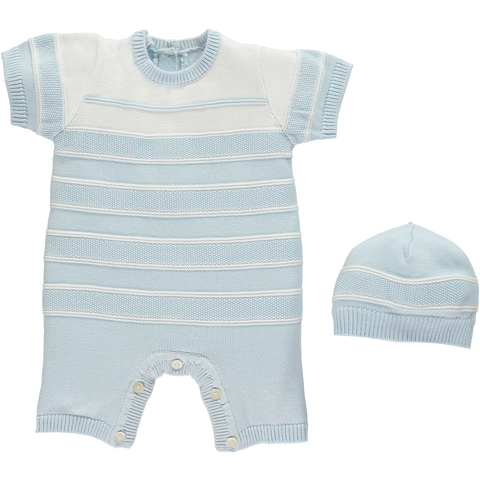 Emile et Rose Blue Knitted Romper with Hat