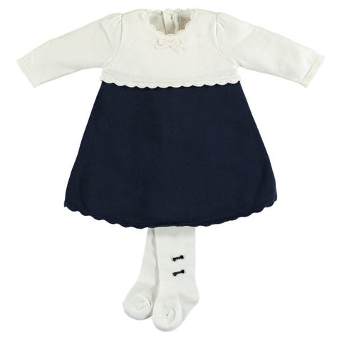 Emile et Rose Navy & Cream Knitted Dress with Tights