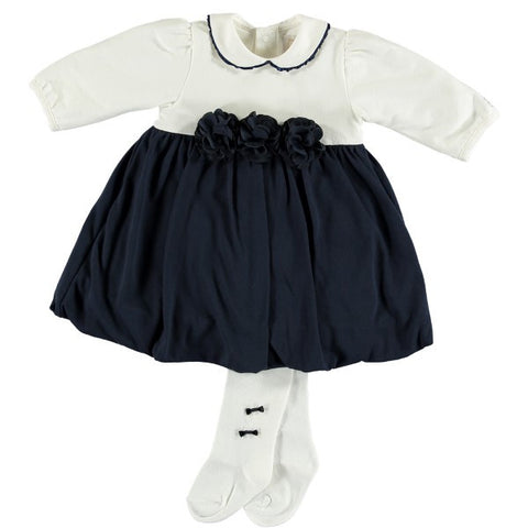 Emile et Rose Navy & Ivory Dress with Tights