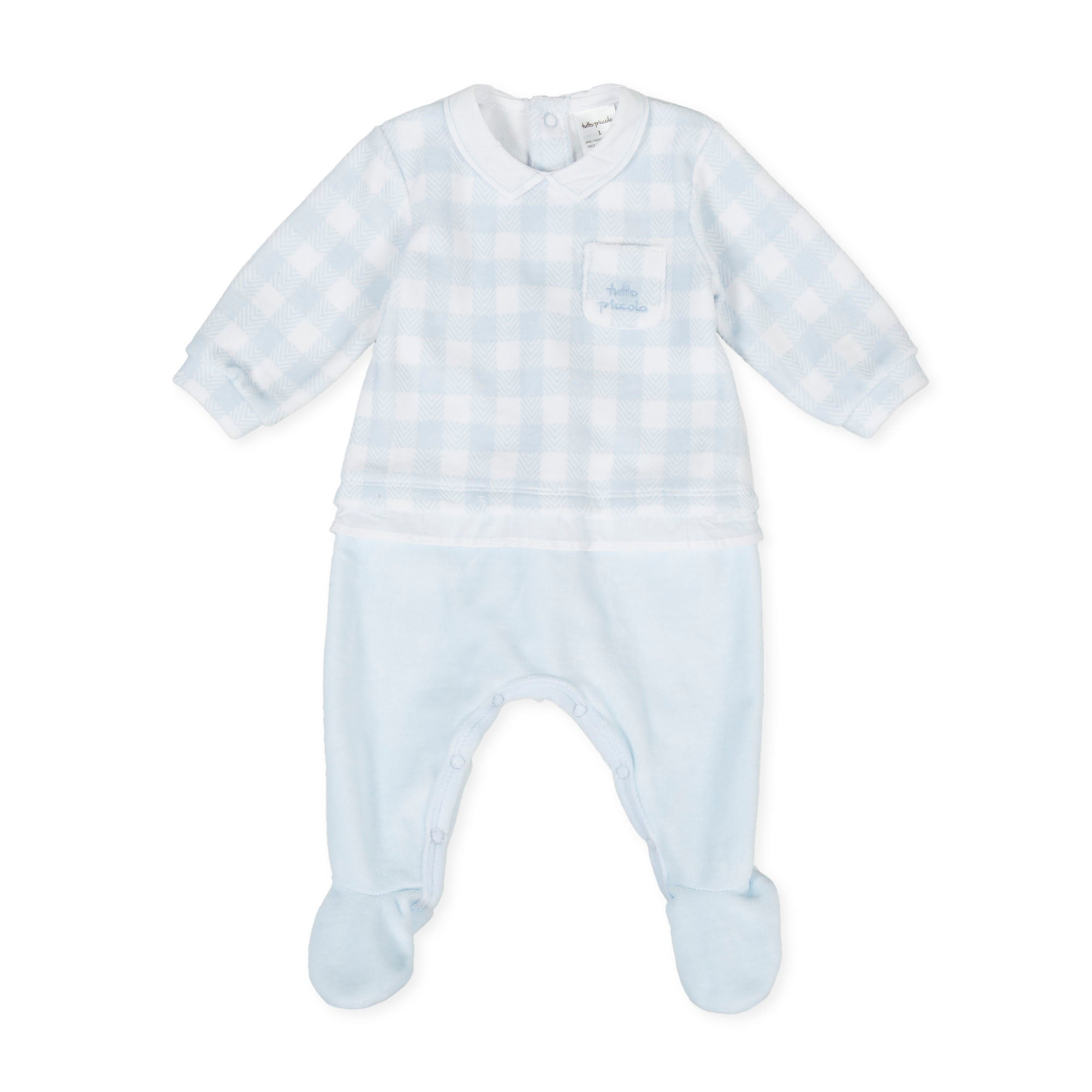 Tutto Piccolo Blue Gingham Velour Babygrow