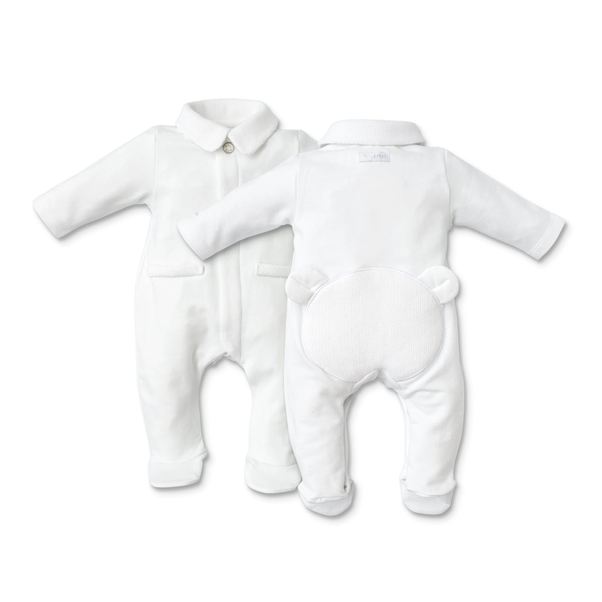 First White Knit Bear Babygrow