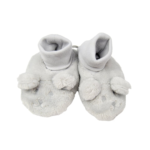 Absorba Grey Bear Velour Booties