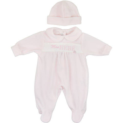 Coco Collection Pink Velour Babygrow